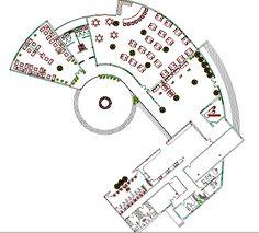 Restaurant Floor Plan, Park Restaurant, Restaurant Design, Architecture Layout, Organic Architecture, Floor Plan Symbols, Bamboo House Design, Floor Plan Layout, Cafe Design
