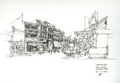 Architectural Sketch Shophouse, Chiang Mai