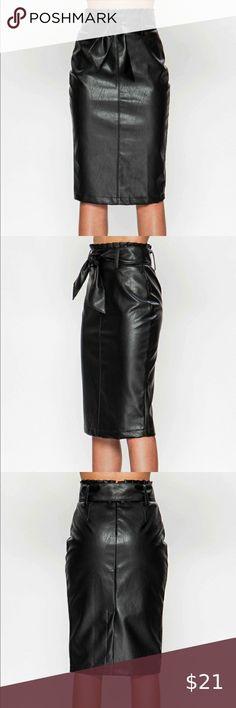 Womens PVC Front Split Skirt Ladies Knee Length Faux Leather Size 10 12 14