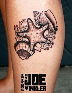 Just finished this fun #blackandgraytattoo Of a #starfish #conch and #scallop. #ARTbyjoewinkler #art #tattoos #tattooapprenticeship #eliteinktattoos #myrtlebeach #SC #843 #843tattoos #dankubinrotary #dynamicink #oneink #eternalink #seashelltattoo #starfishtattoo
