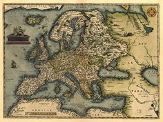 Antique Map of Europe Ortelius 1570 by TerraIncognitaMaps on Etsy, $40.00