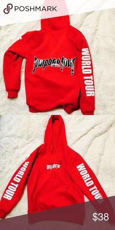 PURPOSE TOUR RED HOODIE❤️️🎉😍 Great condition!!! I love this hoodie! But now it's just sitting in my closet! Not actual tour merch. But material is awesome!!! price is firm.                         👍🏼 FOLLOW ME ON YOUTUBE TO SEE MY RECENT GRAB - Mikee swizzle 💝 Urban Outfitters Tops Sweatshirts & Hoodies
