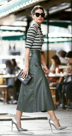 Advent Day 17 , more ideas for Christmas Day chic , Green leather skirt and striped shirt, smart cas...
