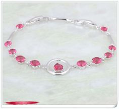 Promotion Made with Genuine Austrian Crystals18K White Gold plate Bracelets & bangles ruby stone fashion jewelry B017 $6.30