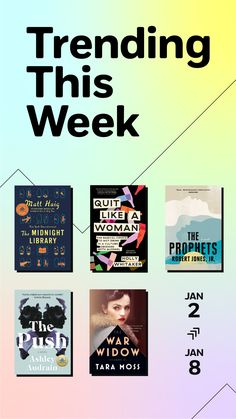 Read the books that everyone's buzzing about this week. Find books suited to every taste from inspirational nonfiction, Quit Like a Woman by Holly Whitaker to acclaimed novels: The Midnight Library by Matt Haig; The Prophets by Robert Jones, Jr.; The Push by Ashley Audrain; and War Widow by Tara Moss.