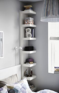 Bedroom Storage Ideas - small bedroom design ideas and home staging tips for small rooms Maximize Small Space, Small Space Solutions, Create Space, Wall Shelf Unit, Ikea Lack Wall Shelf, Bedside Shelf, Bedside Storage, Shelf Units, Ikea White Shelves