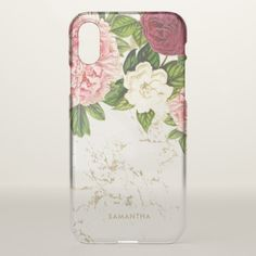 Trendy vintage floral marble custom clear iPhone x case.