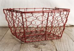 "Chicken Wire Baskets Bright Red 8.5"" Square w/ Handles $8.99 each/ 3 for $8 each--- MORE MEOWER PRESENTATION BASKET OPTIONS"