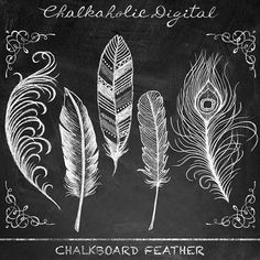 Chalkboard Clip Art Chalkboard Feather Clip by ChalkaholicDigital Chalkboard Clipart, Chalkboard Drawings, Chalkboard Lettering, Chalkboard Designs, Diy Chalkboard, Chalkboard Template, Chalk Fonts, Chalkboard Writing, Feather Clip Art