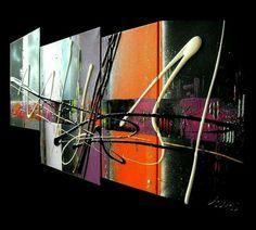 Quadriptyque art abstrait  Painting abstract Orange purple black