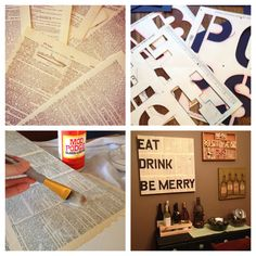 Cool! Cover a canvas with dictionary pages, then use stencils to paint a favorite quote.