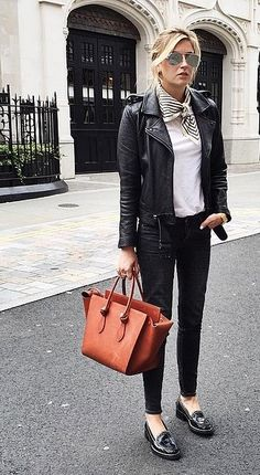 Leather and a neck scarf