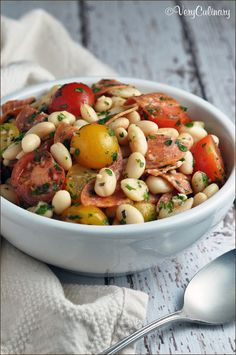 White Bean Salad with Spicy Pepperoni and Tomatoes