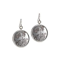 Gucci Flora Sterling Silver Earrings with Aureco Black Finish ($360) ❤ liked on Polyvore featuring jewelry, earrings, gucci jewellery, sterling silver jewelry, gucci jewelry, sterling silver butterfly jewelry and gucci