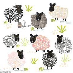 Ok I have to admit that with has me collaging things I would never have tried. like these odd little sheep. Still showing up and still having fun with it. by juliehamiltoncreative Sheep Drawing, Sheep Illustration, Sheep Paintings, Sheep Crafts, Sheep Art, Cute Sheep, Sheep And Lamb, Illustrations And Posters, Art Plastique