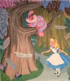 Alice and wonderland, al Dempster Alice In Wonderland Illustrations, Alice In Wonderland 1951, Adventures In Wonderland, Disney Images, Disney Art, Walt Disney, Chesire Cat, Alice Madness, Pics Art