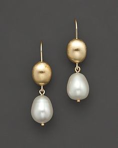14 Kt. Yellow Gold Bead And Freshwater Pearl Drop Earrings   Bloomingdale's