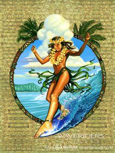 Rick Rietveld's Wave Dancer Hawaiian art with hula girl surfer