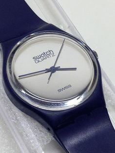 Vintage Swatch Watch GN101 1983 VERY RARE Blue Mirror Silver #Swatch #Casual