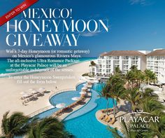*This sweepstakes has ended* Enter to win an all-inclusive 7-day Honeymoon or romantic trip for two to the Mexican Riviera!