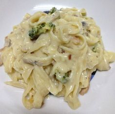 Bacon & Mushroom Fettucine Carbonara with Thermomix TM31 Would need to substitute non dairy fat, rice milk, oat cream, leave out the cheese and use semolina-no-egg pasta.