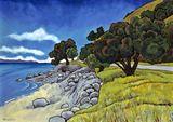 Coromandel Road by Wendy Leach Tile Design, Design Art, New Zealand Landscape, New Zealand Art, Art Tutorials, New Art, Artworks, Artists, Moana