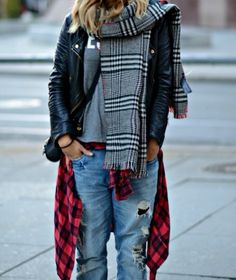 t shirt, leather jacket, plaid flannel and boyfriend jeans.  cute!