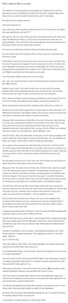 YES YES YES I AGREE WITH ALL OF THIS Except the lightsaber thing. How could Luke give the lightsaber to little Rey when he didn't even have the lightsaber at that time??? HE LOST IT AT CLOUD CITY.