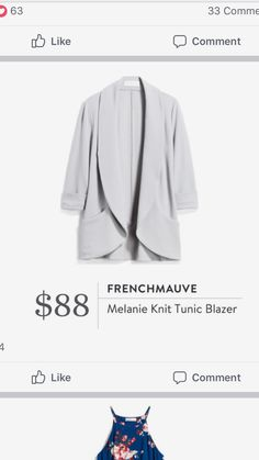 Frenchmauve Melanie Knit Tunic Blazer from Stitch Fix Good for wood. Like the sweater style but more formal as a blazer