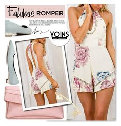 """""""Fabulous Rompers at Yoins.com"""" by serepunky ❤ liked on Polyvore featuring flats, pastels, romper and summerfashion"""