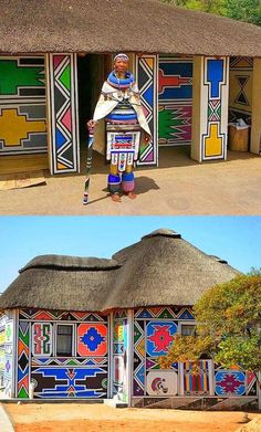 in and around Johannesburg and Pretoria, South Africa The Ndebele homeland lies close to Pretoria, South Africa. They are known for their painted houses.The Ndebele homeland lies close to Pretoria, South Africa. They are known for their painted houses. Pretoria, Africa Nature, African House, Afrique Art, Le Cap, Out Of Africa, South Africa Art, Kenya Africa, Thinking Day