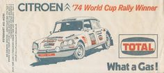 1974 TOTAL Citreon World Cup Rally iron on transfer.