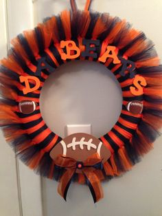 """Homemade Chicago Bears Wreath - checkout """"Wreaths by Tricia"""" on Facebook for more custom tulle wreaths!"""