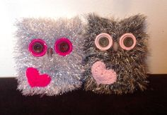 A lovely, unusual handmade gift for your valentine,or they would make a lovely gift for Mothers Day. Each owl is hand knitted using eyelash yarn... with its own crochet love heart. They have button eyes and bead beaks. Each owl measures approx. 4-5 tall by 4 across. Only one of each colour available. PLEASE NOTE; These are decorative ornaments. for teenagers and adults, not toys. They are therefore not suitable for younger children due to small parts posing a choking hazard. Owls are best…