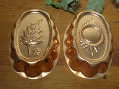 Vintage Anodized Jello-o Molds  -  Oval Copper Molds - Autumn and Summer -  15-444 by BubbiesMemories on Etsy
