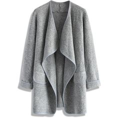 Chicwish Just Knitted Open Coat in Grey ($40) ❤ liked on Polyvore featuring outerwear, coats, jackets, cardigans, tops, grey, gray coat, evening coat and grey coat