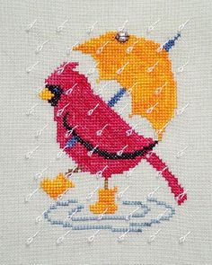 click here to view larger image of Rainy Day Cardinal (chart with charms/buttons)