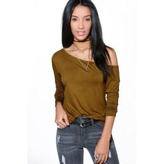 Boohoo Kayla Off The Shoulder T-Shirt featuring polyvore, women's fashion, clothing, tops, t-shirts, olive, ribbed tee, long sleeve layering tee, layering tees, high neck crop top and basic long sleeve tee
