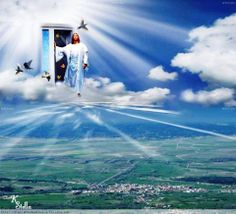 """""""When Jesus steps out on a cloud to call His children, the dead in Christ shall rise to meet Him in the air; but then those that remain will be quickly changed, at the midnight cry when Jesus comes again."""" Maxy is through that door! Heaven Pictures, Cool Pictures, Image Jesus, Cross Wallpaper, Pictures Of Jesus Christ, Bride Of Christ, Jesus Is Coming, Lion Of Judah, Sympathy Cards"""