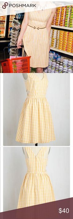 My Goodness my Patio Dress in Lemonade Beautiful yellow gingham dress. Light and airy for warm weather. Has pockets! Worn only once. ModCloth's own brand. Modcloth Dresses