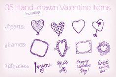 Graphics ~ 35 Hand-drawn Valentine Vectors by Frisk Shop ~ Creative Market