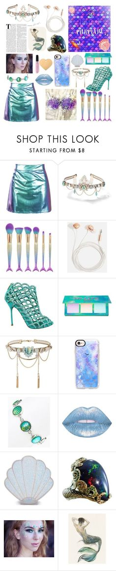 """""""Live like a Mermaid"""" by queenietillaih ❤ liked on Polyvore featuring Miss Selfridge, Skinnydip, Sergio Rossi, Lime Crime, Casetify, Bubbly Bows, Sugar Thrillz and Mermaid Salon #sergiorossimermaid"""