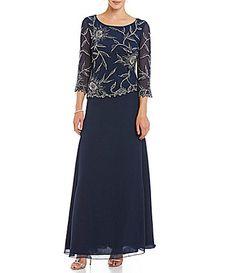 Jkara Floral Beaded Bodice Gown #Dillards