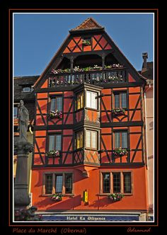 Medieval n Renaissance houses in Obernai, hometown of Sainte Odile (patron of saint of Alsace). Obernai, Alsace_ East France