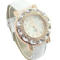 MerryDay Women Fashion Luxury Rhinestone Leather Quartz Watch ** Learn more by visiting the image link.