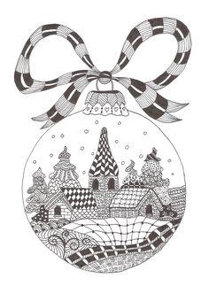 Zentangle made by Mariska den Boer 66 - small christmasgreetingcard