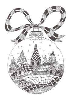 Zentangle made by Mariska den Boer 66 - small christmasgreetingcard