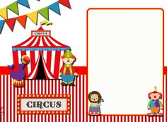 "Convites Digitais Simples: Kit de Personalizados Tema ""Circo"" para Imprimir Kids Carnival, Carnival Themes, Circus Theme, Circus Party, Carnival Birthday, 2nd Birthday, Circus Invitations, Clown Party, Watercolor Cards"