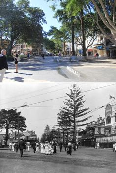 The Corso, Manly NSW AUSTRALIA. Top image 2015, bottom image c.1900.
