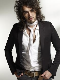 Russell Brand in black and white (scarf)